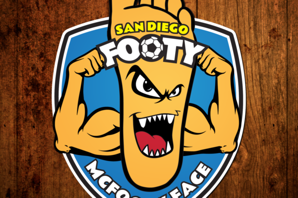 SoccerCity SD Footy McFooty Face Logo