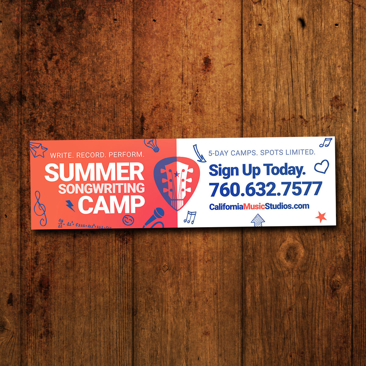 California Music Lessons Summer Camp Billboard